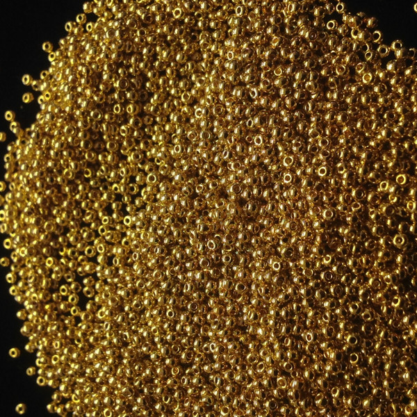 16/0 24K Gold Plated Seed Beads ( 10 Grams )