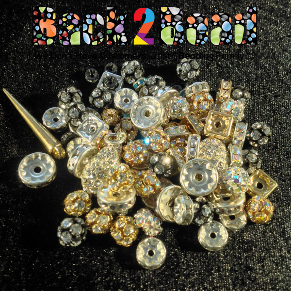 Czech Republic Rhinestone Rondelle Multi Pack ( 50 Grams, app. 70 Asst Pieces )