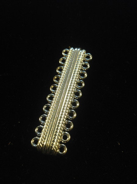 """"""" Cosmopolitan """" Platinum Oval 10 Strands Alloy Magnetic Clasp 20-Hole, 47x14x7mm, Hole: 2mm"""