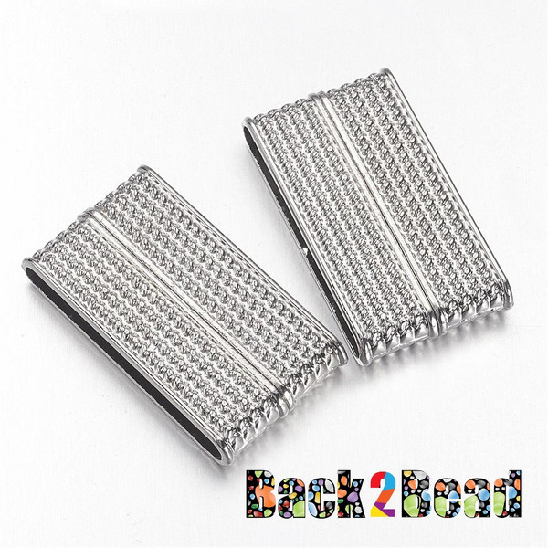 """"""" ChainMail """" Platinum Rectangle Size: about 19mm wide, 37.5mm long, 7mm thick, hole: 34x4mm"""