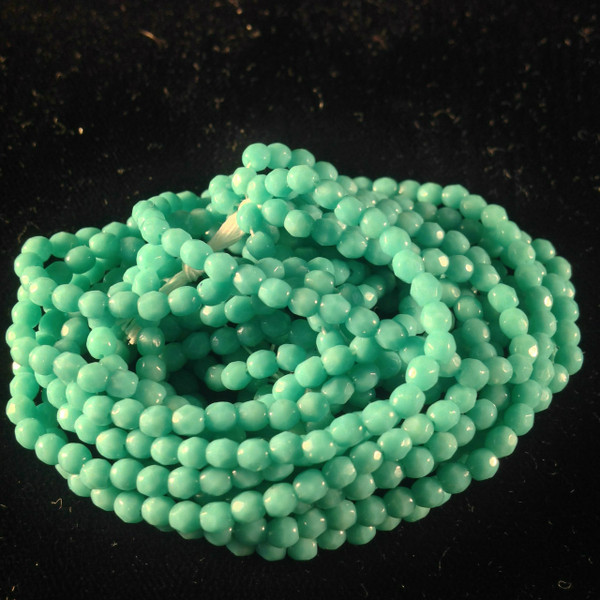 3mm Green Turquoise ( 63130 ) Fire Polish ( 600 Pieces )