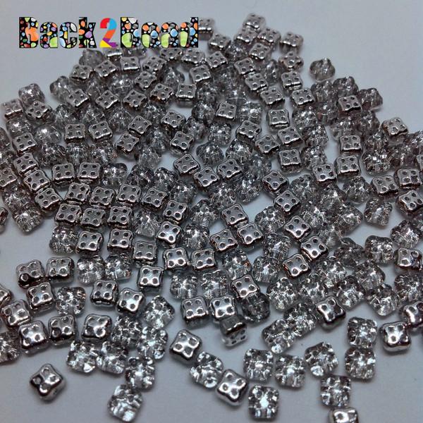 Crystal Silver 4Ceed© ( 27001 ) 3x5 Four Hole Seed Bead ( 25 gram bag )