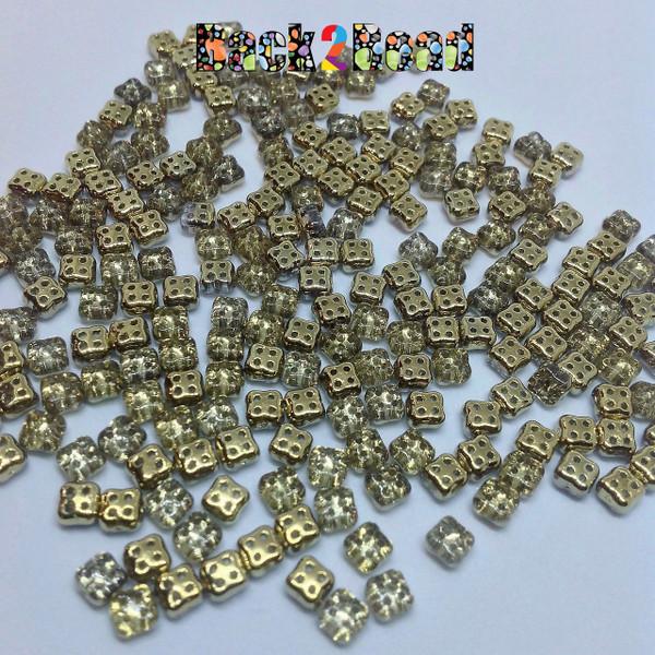 Crystal Gold 4Ceed© ( 26441 ) 3x5 Four Hole Seed Bead ( 25 gram bag )