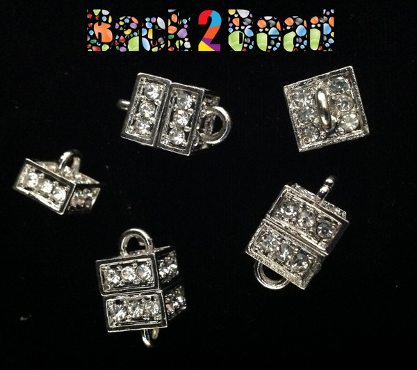 """ Boxer "" Platinum Alloy Rhinestone Magnetic Clasps, Cube, 19x11mm, Hole: 3mm"