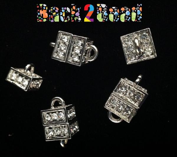 """ Boxer "" Platinum Alloy Rhinestone Magnetic Clasps, Cube, 19x11mm, Hole: 3mm"