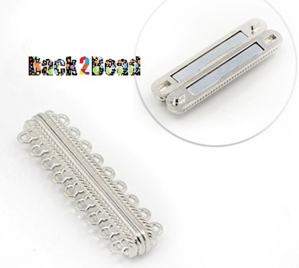 """ Cosmopolitan "" Platinum Alloy Magnetic Clasps, with 18 Holes, Rectangle, 48x14x7mm, Hole: 2mm"