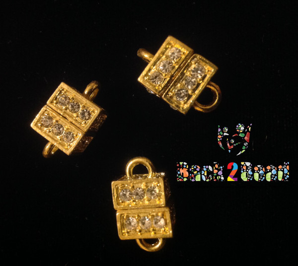 """"""" Boxer """" Gold Alloy Rhinestone Magnetic Clasps, Cube, 19x11mm, Hole: 3mm"""
