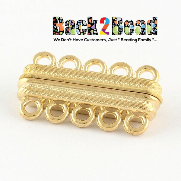 Rectangle Tibetan Style Alloy Magnetic Clasps for Jewelry Making, with 10 Holes, Golden Size: about 33mm long, 17.5mm wide, 7.5mm thick, hole: 2.5mm.