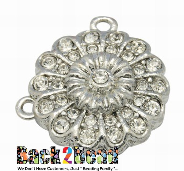 Brass Magnetic Clasps, With Rhinestone, Flower, Platinum Size: about 23mm in diameter, 8mm thick, Hole: 2mm.