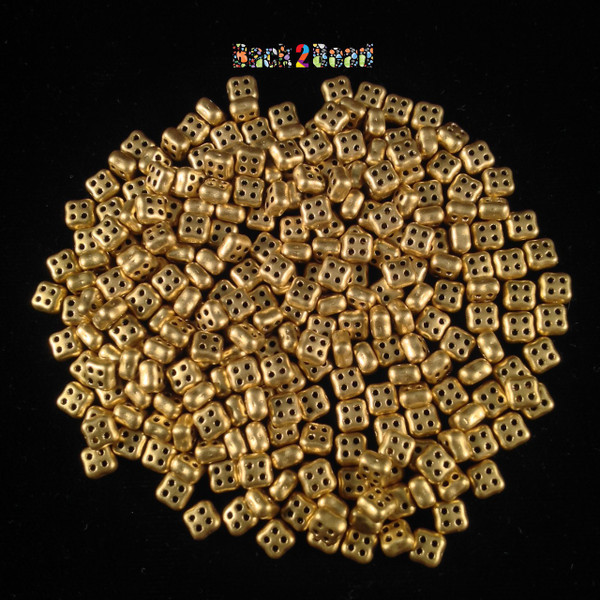 Matt ( Gold ) Oro 4Ceed© ( 01710 ) 3x5 Four Hole Seed Bead ( 25 gram bag )