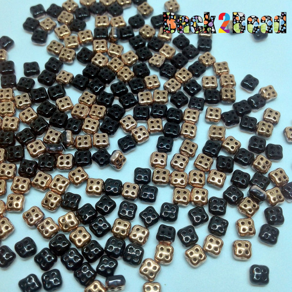 Black/Capri Gold 4Ceed© ( 2398-27101 ) 3x5 Four Hole Seed Bead ( 25 gram bag )