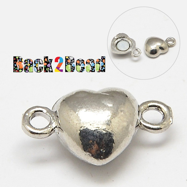 """"""" Broken Heart """" Silver Magnetic Clasps, Oval, Platinum Size: about 10mm wide, 17mm long, hole: 1mm."""