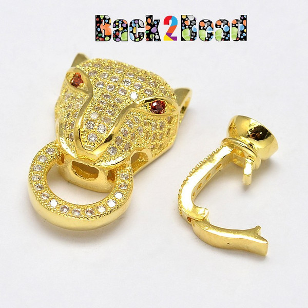 """ Mufasa "" Golden Cheetah Head Brass Micro Pave Cubic Zirconia Fold Clasps, Nickel Free, 31x13x7mm, Hole: 2mm"