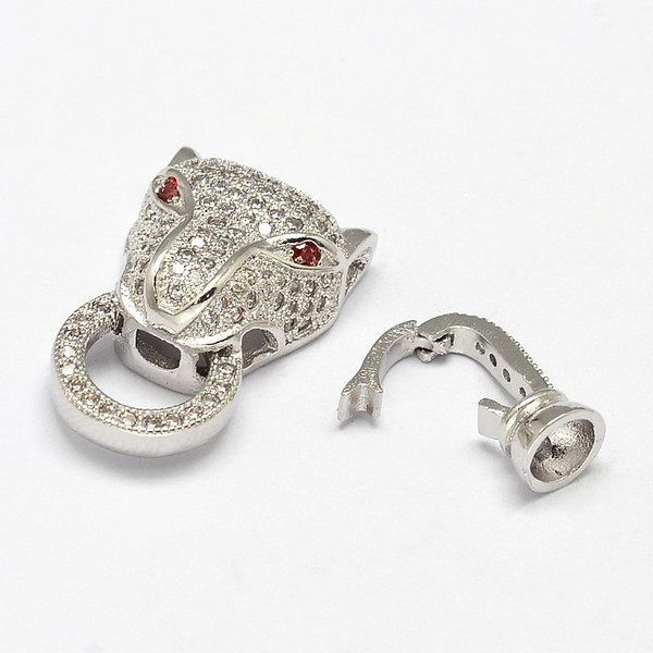""" Mufasa "" Silver Cheetah Head Brass Micro Pave Cubic Zirconia Fold Clasps, Nickel Free, 31x13x7mm, Hole: 2mm"