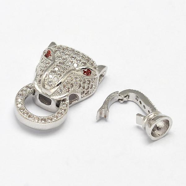 """ Mufasa "" Silver Cheetah Head Brass Micro Pave Cubic Zirconia Fold Clasps, Nickel Free, 31x13x7mm, Hole: 2mm"