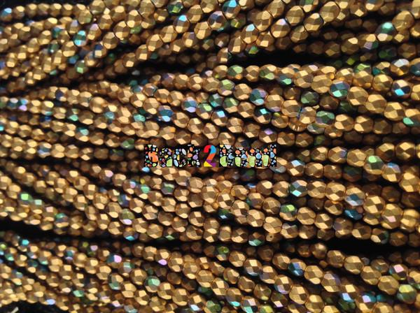 3mm Matt Oro Gold AB  ( 01710 - 28701 ) Fire Polish ( 600 Pieces )