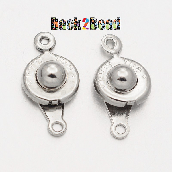 Platinum Iron Snap Clasps, Size: about 9mm wide, 17mm long, 5mm thick, hole: 1mm.