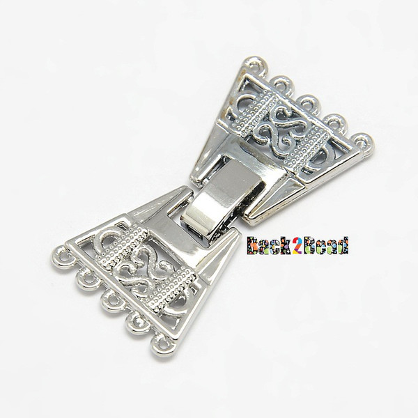 Platinum, 5 Strand Plated Zinc Alloy and Brass Fold Over Watch Band Clasps, 10-Hole, Lead Free & Nickel Free, 36x19x3mm, Hole: 1mm