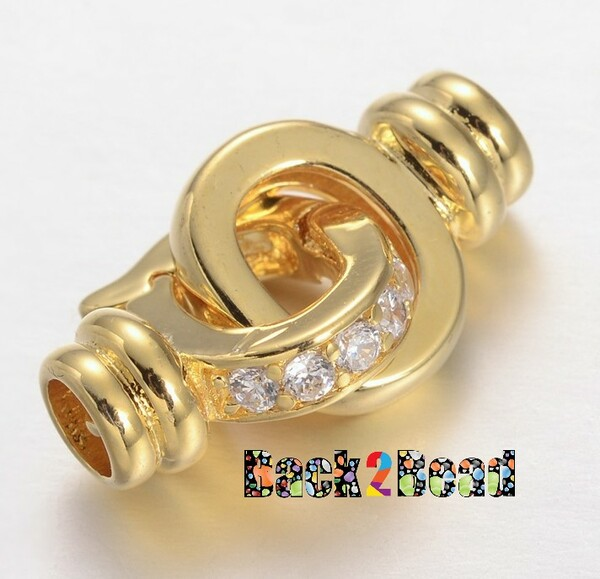 Gold, Brass Micro Pave Cubic Zirconia Interlocking Clasps, Cadmium Free & Lead Free, 23x11x6mm, Hole: 4mm (view)