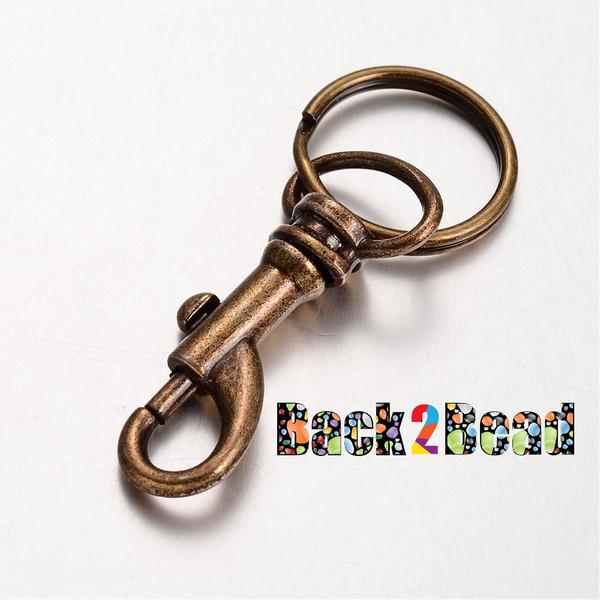 Iron Ring Alloy Key Clasp, Antique Bronze, 56mm