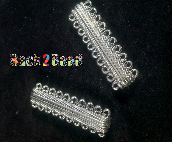 """ Cosmopolitan "" Platinum Oval 10 Strands Alloy Magnetic Clasps, 20-Hole, 47x14x7mm, Hole: 2mm"