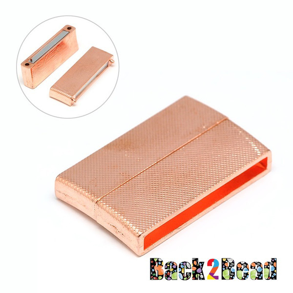 """ Executive "" Copper Magnetic Clasp, Rectangle, 40x24x7mm, Hole: 3X36mm"