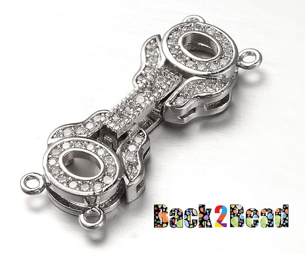""""""" Cats Eye """", Platinum Brass Micro Pave Cubic Zirconia, Fold Over Clasp,   11mm wide, 29mm long, 4.5mm thick, hole: 1mm."""