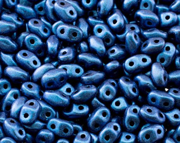Metallic Blue ( 24203 ) SuperDuo 2.5x5mm, Czech Glass Beads, Matubo, 2 hole seed beads ( 25 gram bag )