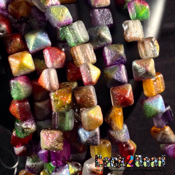 8MM Crystal Magic Multi Etch BeadStudz - 2-Hole Czech Glass Pyramids ( 6 strands, 24 Pieces per Strand )