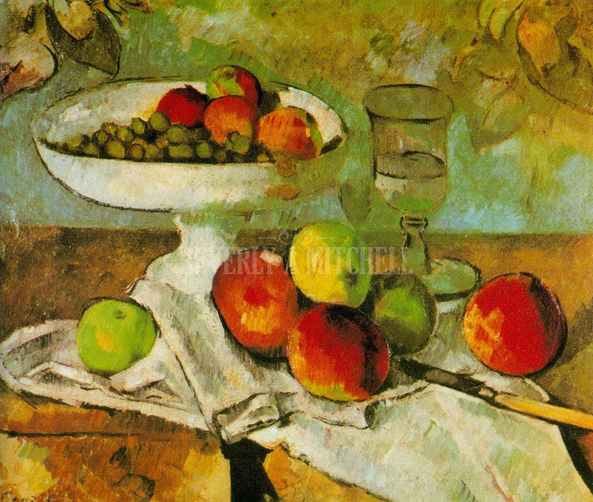 Still Life With Dish Glass And Apples By Paul Cezanne Print and Painting from Beverly A Mitchell American Art Gallery.