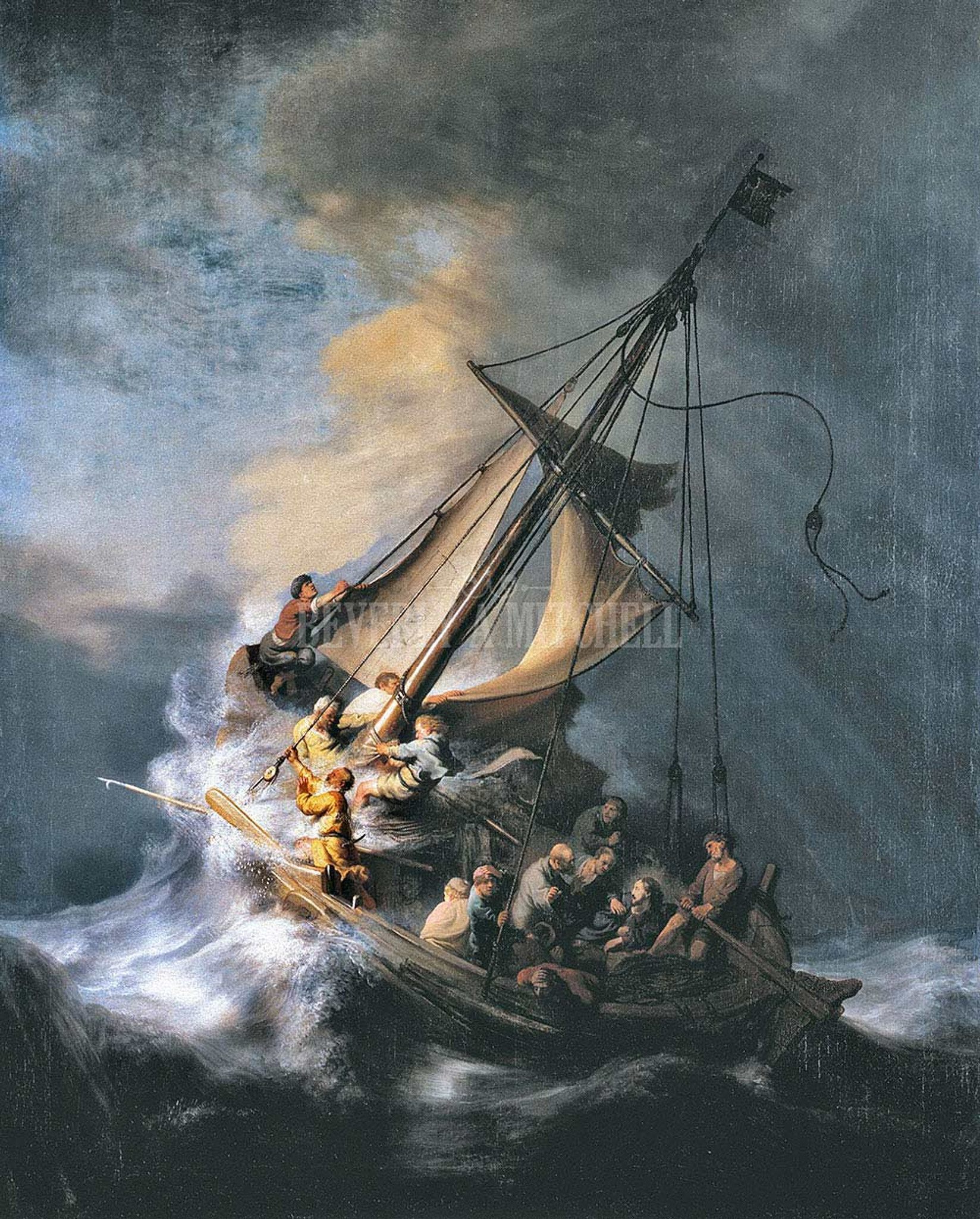 Rembrandt Picture on Stretched Can Christ in the Storm on the Lake of Galilee