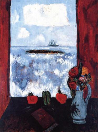 Summer Sea Window Red Curtain by Marsden Hartley