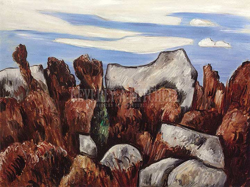 Cynical Blue Jovial Brown Dogtown by Marsden Hartley
