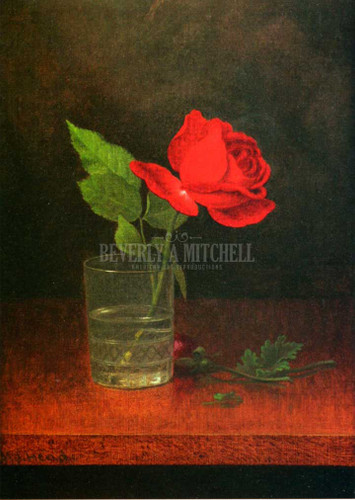 A Single Rose In A Glass by Martin Johnson Heade