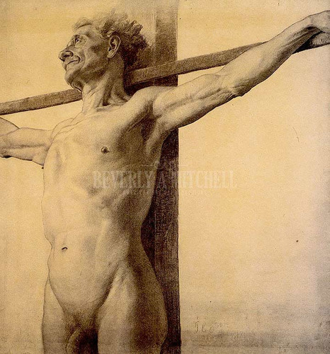 Half Length Nude With His Arms Extended Upon A Cross by Theodore Clement Steele
