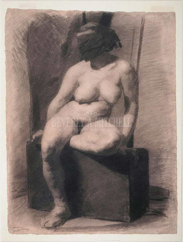 Masked Nude Woman Seated by Thomas Eakins