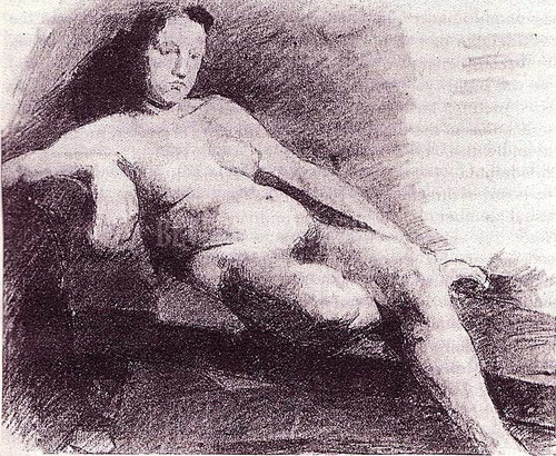 Nude Woman Reclining On A Couch 1863 by Thomas Eakins