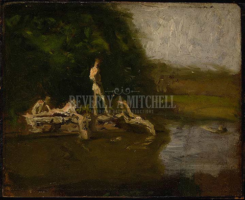 Swimming Hole Sketch by Thomas Eakins