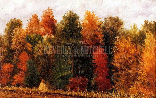 Autumn Woods At The Edge Of A Cornfield by William Aiken Walker