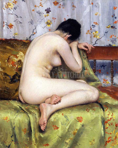 A Modern Magdalen(Also Known As Nude Inan Interior) by William Merritt Chase