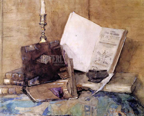 Books And Candle by William Merritt Chase