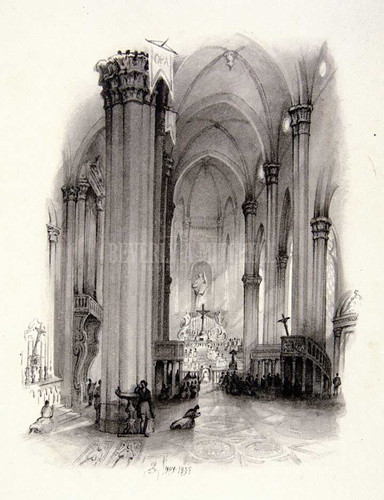 Cathedral Arezzo Interior View Chapel Of The Madonna by William Trost Richards