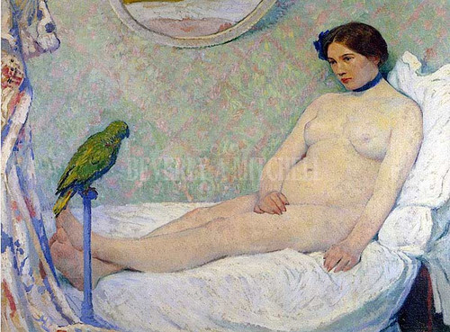 Nude With Parrot by Bernhard Gutmann