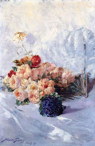 Still Life With Flowers And Fan by Abbott Fuller Graves