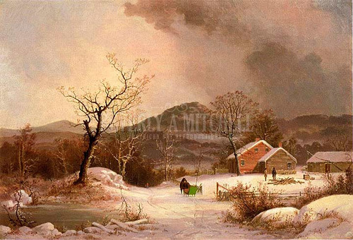 Farmstead And Sleigh In Winter by George Henry Durrie