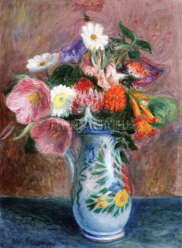 Bouquet In A Quimper Pitcher by William James Glackens