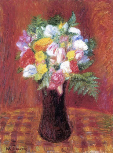 Bouquet In Purple Vase by William James Glackens