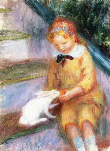 Lenna Feeding A Rabbit by William James Glackens