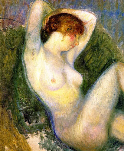 Nude In Green Chair (Unfinished) by William James Glackens