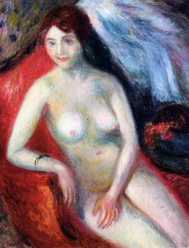 Nude On A Red Sofa by William James Glackens